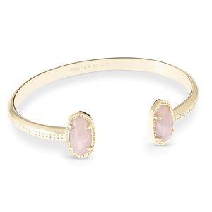 Kendra Scott Elton cuff bracelet rose quartz NWT
